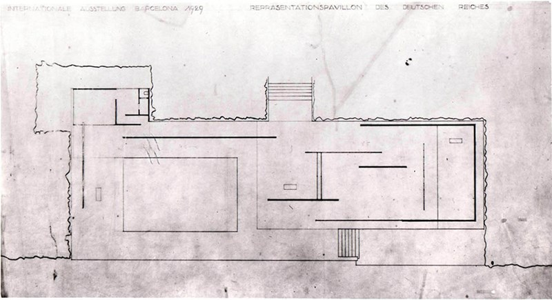 Osnova paviljona Barcelona (http://www.bmiaa.com/the-barcelona-pavilions-lost-drawings-for-the-first-time-in-bologna/)