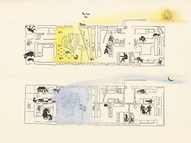 """Narod gradi - država pomaže"""",  program Ministarstva graðevina iz 1946. godine, skica Juraja Neidhardta ©Arhiva kabineta za enterijere, AFS"""