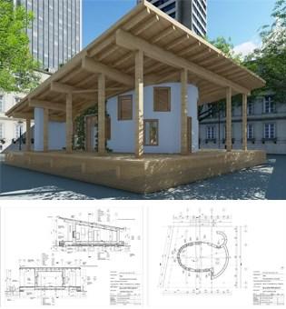 3D prikaz paviljona, karakteristični presjeci i osnova ©Sanela Klarić