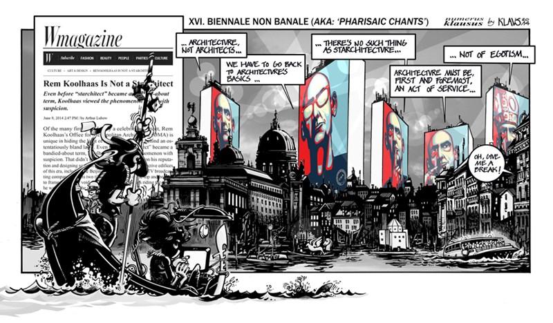 Klaus – satirična ilustracija na kuratorstvo Rema Koolhas-a Venecijanskog Biennale-a 20014.godine ©https://klaustoon.wordpress.com/2014/11/