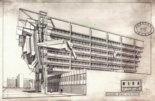 "Lebbeus Woods je predstavio svoju viziju postratne rekonstrukcije Sarajeva. Plan je prezentovan u njegovoj knjizi ""Rat i arhitektura"" (1993.) i ""Radikalna rekonstrukcija"" (1997.) ©Lebbeus Woods"