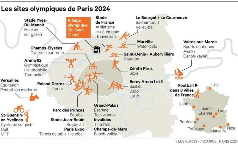 Planirana mjesta održavanja takmičenja za olimpijske igre 2024. godine ©https://www.lesechos.fr/medias/2017/03/30/1102488_paris-a-lassaut-des-jo-2024-web-tete-021705470360.jpg