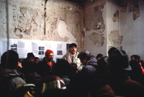 Ivan Štraus i Lebbeus Woods u uništenom Olimpijskom muzeju u Sarajevu 1993. ©Lebbeus Woods