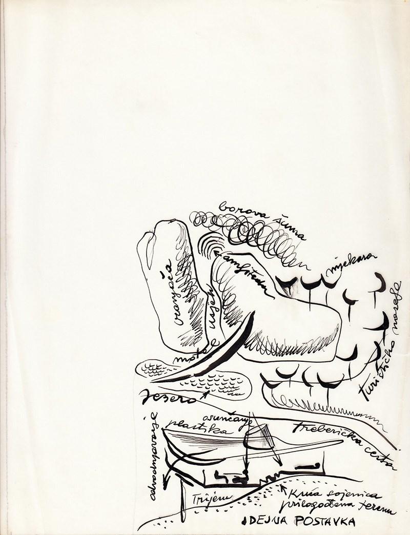 Juraj Neidhardt – Idejna postavka za Turističko naselje Vranjača, pored Sarajeva, skica-studija, 1967, tuš na pausu, 30x22cm
