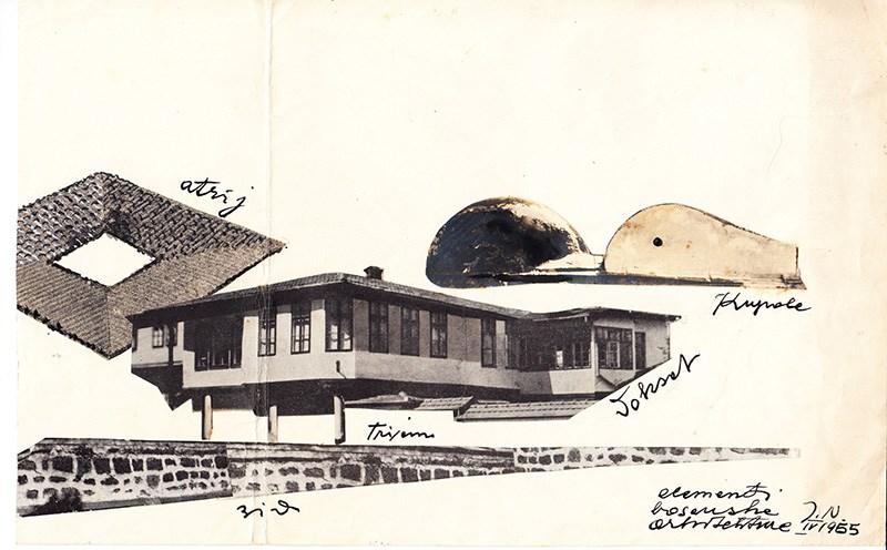 Juraj Neidhardt – Elementi bosanske arhitekture, studija, 1955, kolaž i tuš na papiru, 30x18cm