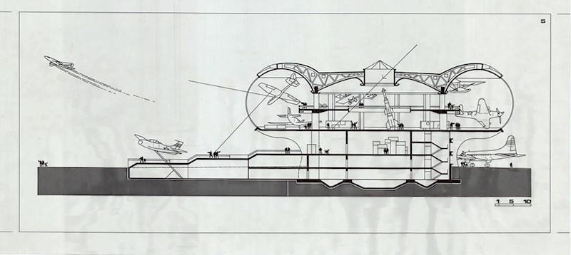 Ivan Štraus - Muzej avijacije, Beograd, presjek, 1969, tuš i letraton na pausu, 77x36cm