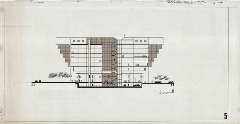 Ivan Štraus – Poslovno-tehnička zgrada Elektroprivreda BH, Sarajevo, Presjek, 1978, tuš i letraton na pausu, 75x38cm