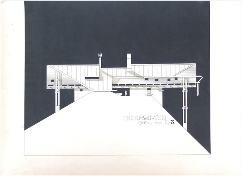 Zlatko Ugljen – Planinarski dom Bobovac na Bobovcu kod Kraljeve Sutjeske, fasada, 1968, tuš i letraton na papiru, 70x50cm