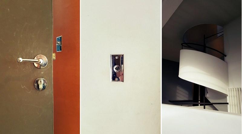 Detalji ulazne stolarije, prekidača i stepenica, vila Savoye, 17. novembar 2016., foto: Boris Trapara