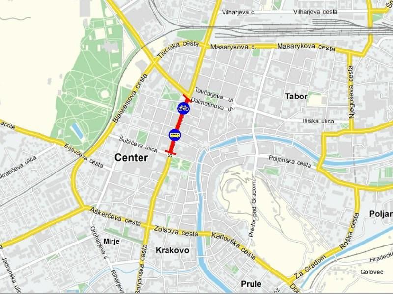 Šire područje gradskog centra sa položajem Slovenske ceste | izvor: http://www.lpp.si/info-za-potnike/evropski-teden-mobilnosti-2012