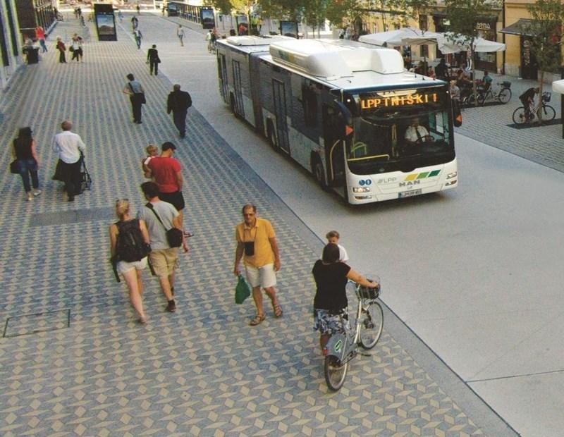 Zajedničko korištenje prostora Slovenske ceste | izvor: http://www.zelenaljubljana.si/zelena-dejstva/ekoloska-cona