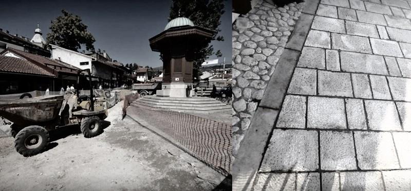 Građevinski radovi na izmjeni obloge Baščaršijskog trga u Sarajevu, foto: Nedim Grabovica i Feđa Krvavac, izvor: klix.ba