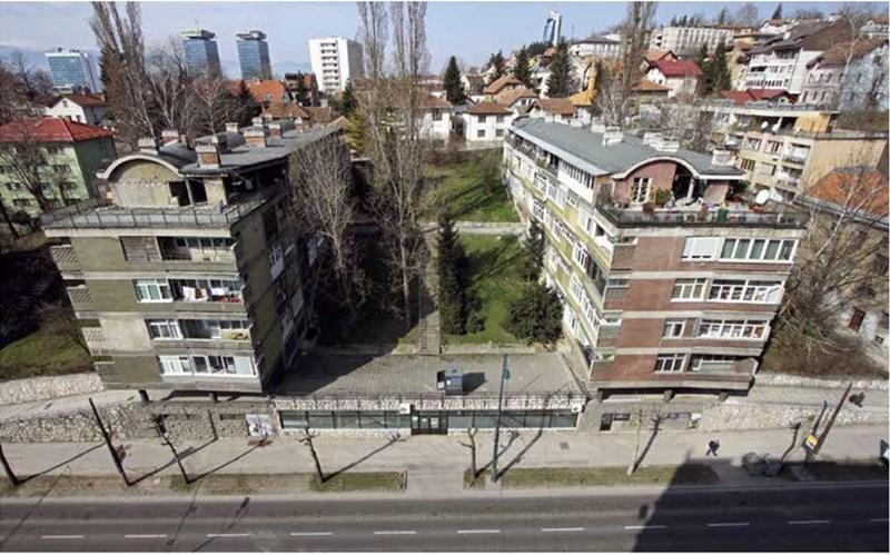 Stambeni objekti sa puno zelenila i otvorenih međuprostora. Alipašina ulica, Sarajevo, autor Juraj Neidhardt, 1947-1958