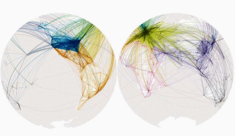 Povezanost gradova kroz prikaz godišnjih letova na svjetskom nivou  (Endless city, Phaidon Press, 2008)