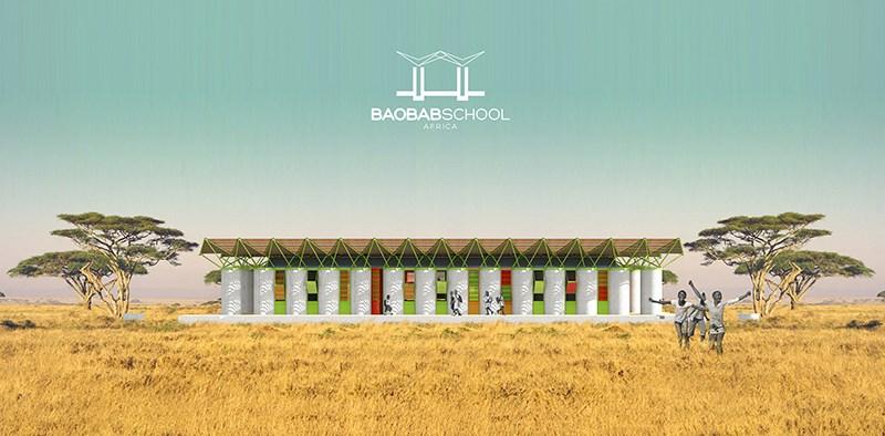 Baobab School - škola u Africi, tropska savana, Afrika