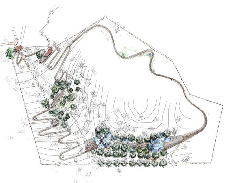 """Idejno arhitektonsko rješenje izgleda zaštitne konstrukcije, vanjskog uređenja i dizajna informacionih tabli na arheološkom lokalitetu """"Ambarine"""", Detlak"""