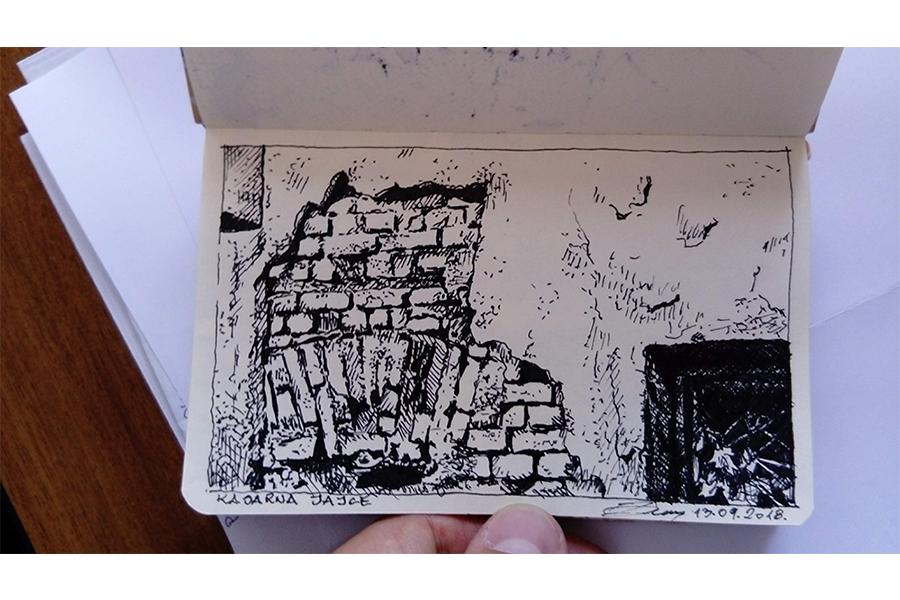 Skica 1: Detalj bedema Kasarne Jajce u Sarajevu, 2018. Rapidograf na papiru A6 format