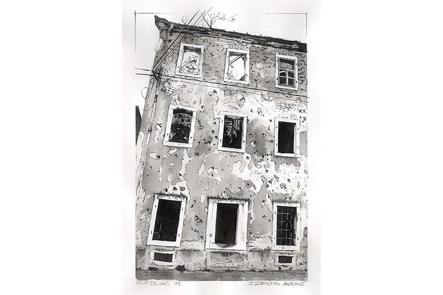 Slika 1: Fasada objekta u Stocu, 2011. Lavirani tuš na papiru 40/60cm
