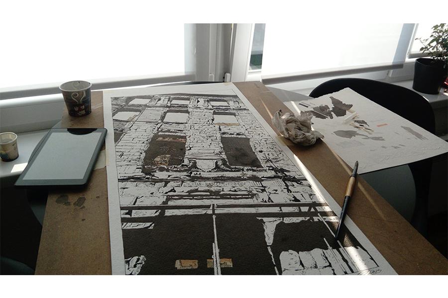 Proces 2: Finalni proces nijansiranja laviranim tušem crteža sa slike br. 3