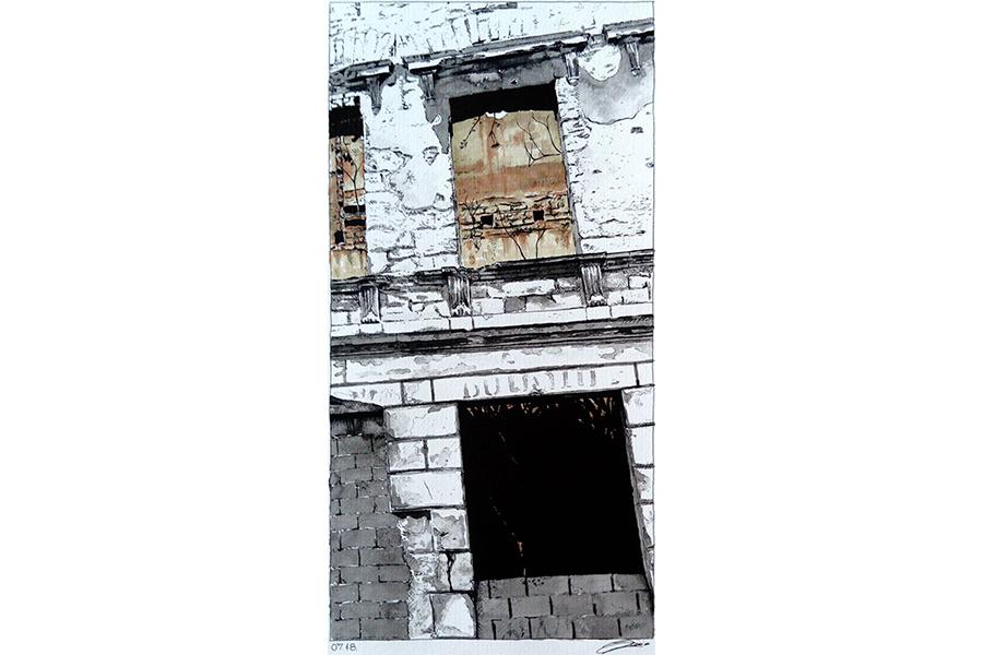 Slika 2: Fasada objekta u Mostaru, 2018. Lavirani tuš i copic marker na papiru 35/70cm