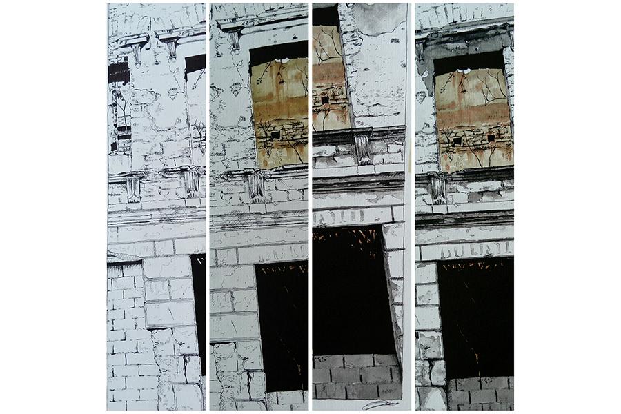 Proces 3: Proces crteža sa slike br. 2 – rapidograf, marker, lavirani tuš