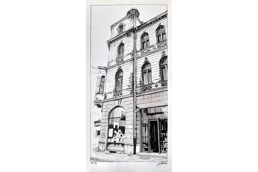 Slika 6: Objekat na uglu Zelenih beretki i Ćumurija u Sarajevu, 2020. Lavirani tuš na papiru 20/40cm